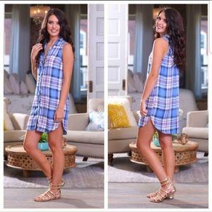 Infinity Raine blue plaid shirt dress tunic